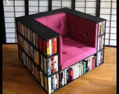 pretty much need all of this in my life. I mean, bookshelf chair. DIY Bookshelf Chair for Book Worms HomelySmart Library Chair, Library Bedroom, Bedroom Office, Library Books, Children's Books, Sweet Home, Diy Casa, Home And Deco, My New Room