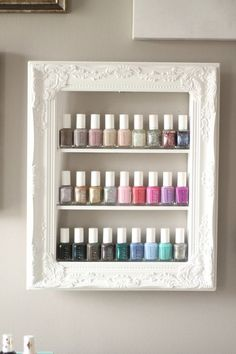 White Shabby Chic Guilded Frame Custom Sized by pinkofperfect Nail polish rack nail polish display nail polish storage Essie nail polish