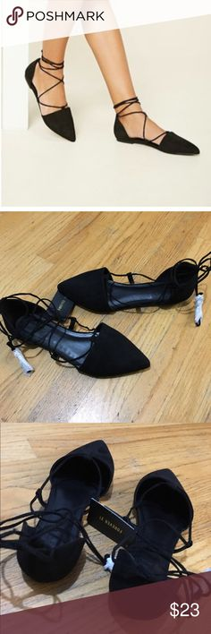Forever 21 Lace-up flats Black Faux Suede Flats featuring a pointed toe, cutout sides, and a Strappy Lace-up front that ties around the ankle. No box. Forever 21 Shoes Flats & Loafers