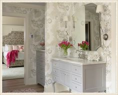 Martha O'Hara Interiors.  My dream bed!  Nice entryway too, beautiful wallpaper, every detail finished nicely.