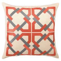 Trina Turk Pillow Embroidered Linen Geometric Tile Orange/Grey PH24TT55DC20SQ