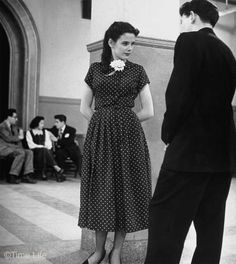 1940s-College-Style - blue polka dot dress worn by Madeline Balcar