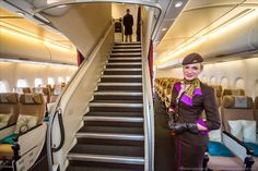 Luxury classes are located on the upper floor of the A380; Business class, First class and Residence class.