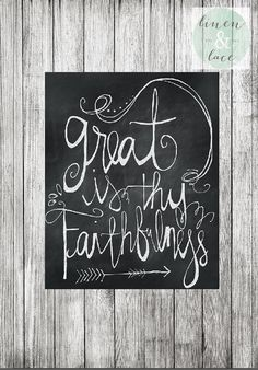 Great is Thy Faithfulness calligraphy printable in chalk board art. This free hand lettering style is such an inspirational phrase for my Chalkboard Scripture, Chalkboard Lettering, Chalkboard Designs, Scripture Art, Chalkboard Ideas, Bible Verses, Kitchen Chalkboard, Scriptures, Chalk It Up