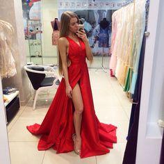 Red Prom Dresses,Sexy Side Split V Neck Prom Dresses