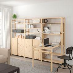 regal ikea IVAR Shelving unit w tbl/cabinets/shlvs - pine - IKEA Shelves, Home, Painted Table Tops, Ikea, Shelving Unit, Ikea Shelving Unit, Shelf Design, Ikea Ivar, Shelving