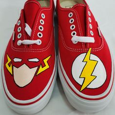 Flash DC Shoes Customized Flashy Footwear Painted Shoes Painted Canvas Shoes, Hand Painted Shoes, Painting Shoes, Unique Christmas Gifts, Paint Cans, On Shoes, Footwear, Pairs, Sneakers
