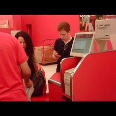 patrick and elisa at target. target. guys. its so weird to me. it shouldn't be. but it is. and imagine ringing their grocerys. you'd see what they were going to eat. imagine patrick stump just walking up to your register. i'd cry.