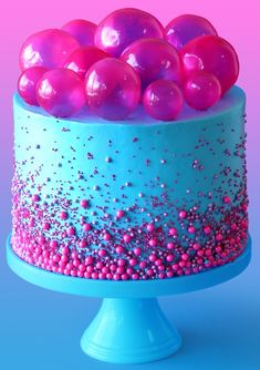 Bubble Pop Electric Cake Make a cake fit for a pop star with this strawberry bubblegum flavored cake with gelatin bubbles on top.<br> Make a cake fit for a pop star with this strawberry bubblegum flavored cake with gelatin bubbles on top. Pretty Cakes, Cute Cakes, Beautiful Cakes, Amazing Cakes, Crazy Cakes, Fancy Cakes, Pink Cakes, Gelatin Bubbles, Bubble Cake