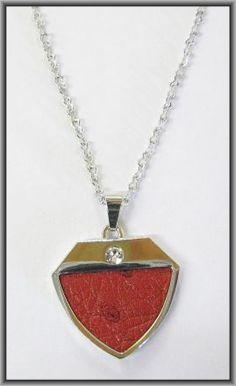 Ostrich leather crystal small pendants - Flame Red OPSB11 Pendants, Pendant Necklace, Crystals, Red, Leather, Jewelry, Fashion, Moda, Jewlery