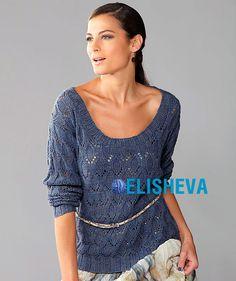 Пуловер с ажурным узором и округлым, глубоким вырезом вязаный спицами | Блог elisheva.ru