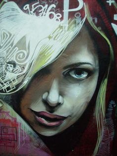 Street Art & Graffiti in 48 Amazing Examples Woman Painting, Painting & Drawing, Ephemeral Art, Sidewalk Chalk Art, Funky Art, Street Culture, Street Art Graffiti, Street Artists, Face Art