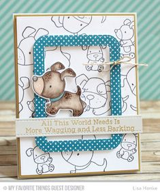 Playful Pups Stamp Set and Die-namics, Stitched Rounded Rectangle Frames Die-namics, Blueprints 1 Die-namics, Blueprints 2 Die-namics - Lisa Henke  #mftstamps