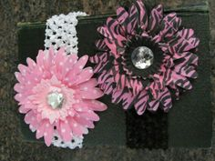 Gerber daisy flower hair clips with headbands www.etsy.com/shop/cutelikeaudrey