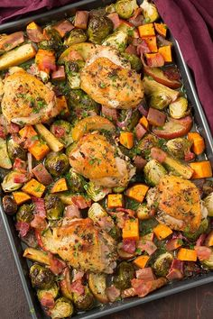 I love dinners where everything is cooked or baked together in one pan. And this One Pan Autumn Chicken Dinner is no exception! Ever since this One Sheet Pan Parmesan Crusted Salmon,I've thought up so many different version I'd like to try, a few that I've gotten around to like this One Pan Chicken Parmesanwith