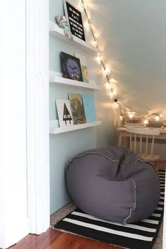 40 Girl\'s Bedroom Ideas With An Awesome Play Space Reading Nook Closet, Closet Nook, Playroom Closet, Reading Nook Kids, Boys Closet, Under Stairs Playroom, Closet Under Stairs, Basement Stairs, Under Stairs Playhouse