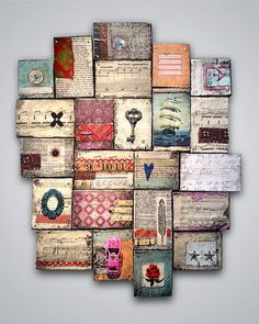 Mixed media wood collage wall art