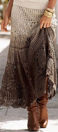 Sexy hippie boho chic crochet ombre skirt.  For MORE Bohemian Hippie Fashion FOLLOW https://www.pinterest.com/happygolicky/the-best-boho-chic-fashion-bohemian-jewelry-gypsy-/ now!