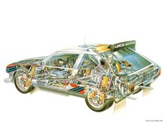 1986 Lancia Delta Group B - Illustration unattributed Lancia Delta, Subaru Rally, Rally Car, Cutaway, Sport Cars, Race Cars, My Dream Car, Dream Cars, Good Looking Cars