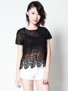 REINA Crochet Waterfall Top (Black)