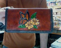 Checkbook / Cover /  Personalized / Women / Custom / Monarch, Butterfly / Leather  / Hand Made / Hand Carved and Tooled / Case /  flower
