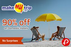 MakeMyTrip is offering 90% off on Domestic Hotels. Validity 10 february. 70% up to 2,600 (Instant Discount) + 20% up to 1,400(Cashback To Wallet), Use Wallet & Save 40% More (Upto Rs.4000). MakMyTrip Coupon Code – HTLSALE  http://www.paisebachaoindia.com/90-off-on-domestic-hotels-no-surprises-makemytrip/