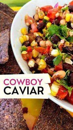 Caviar Recipes, Bean Salad Recipes, Veggie Recipes, Mexican Food Recipes, Appetizer Recipes, Vegetarian Recipes, Cooking Recipes, Healthy Recipes, Healthy Bean Salads