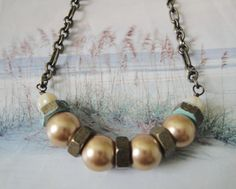 Industrial Chic Necklace Glass Pearls Brass by OceanaireDreamer
