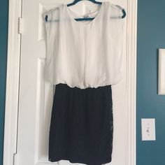 white chiffon blouson waist dress w lace skirt  white chiffon blouson waist dress w lace skirt. Size L Jr. Lined w white cami top and black nylon under the lace skirt. Gently loved and so cute on Speechless Dresses Mini