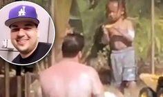 Shirtless Rob Kardashian enjoys the pool with Blac Chyna's son
