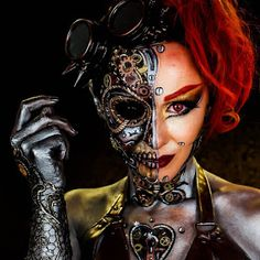 A guide to Steampunk fashion: costume tutorials, Steampunk clothing guide, cosplay photo gallery, updated calendar of Steampunk events, and more. Robot Makeup, Sfx Makeup, Costume Makeup, Makeup Art, Steampunk Makeup, Arte Steampunk, Steampunk Gears, Steampunk Halloween Costumes, Halloween Face Makeup