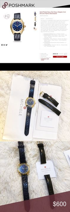 MICHELE Hybrid Smartwatch AUTHENTIC Michele Hybrid Smartwatch in gold with navy blue sport strap. In excellent condition, minor signs of wear to bottom of watch case from normal use. Michele Alligator strap in black with gold hardware included for a more polished look. Michele warranty and receipt available upon request. Watch purchased directly from Michele website, original retail for watch & additional strap was $675 + tax. Reasonable Offers Welcome 🙃 Michele Accessories Watches