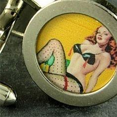 Awesome cufflinks from WMDean Calendar Girls, Vintage Cufflinks, Nylons, Make It Simple, Create Your Own, Pin Up, Dancer, Handbags, Bra