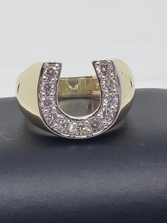 Ct Round Cut Diamond With Yellow Gold Over Promise Horseshoe Lucky Ring Horseshoe Ring, Silver Skull Ring, Black Rings, Round Cut Diamond, Colored Diamonds, Custom Jewelry, Rings For Men, Jewels, Gold