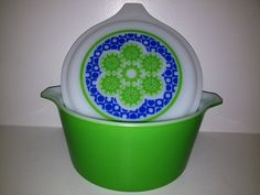 I need a bigger kitchen! Vintage Pyrex Promotional Pattern - 1972 - Crazy Quilt Round Casserole - 473 - 1 QT - Cool Lid on Etsy, $36.00