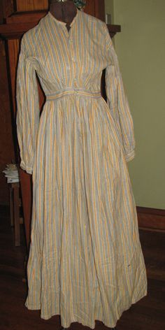 """1864 or so cotton print dress.interesting pattern of striping. with colors that most would refer to as """"shirting"""" patterns. 1800 Clothing, Historical Clothing, Historical Costume, Vintage Clothing, Crazy Dresses, Dresses For Work, Victorian Era Fashion, Vintage Fashion, Pioneer Dress"""