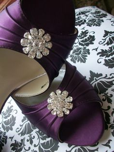 Purple Wedding Shoes - Aubergine Eggplant - Purple Wedding - Bridal Shoes - Choose From Over 100 Colors - Peep Toe - Choose Your Heel Height on Etsy, $122.00