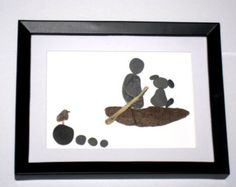Gift for kayaker; Sailor gift;Paddler gift; Unique pebble kayak art with dog;water sports pebble art; Cottage Decor;Canoe enthusiast Picture