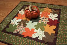Tessellating Autumn Leaves Quilted Table Topper or Wallhanging 21-1/2 x21-1/2 inches