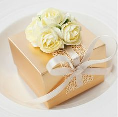 Gold Wedding Favor Candy Box with Beige Satin by sweetywedding