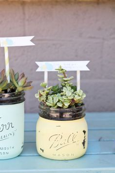 Mason jar succulent pots: Stick her favorite plants in a pastel-painted jar for a fun present she can use to decorate any room. If she's got a really green thumb, sub the plants for herbs so she can pluck away - and think of you - every time she's cooking in the kitchen.
