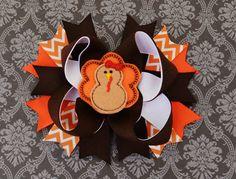 Thanksgiving Hair Bow Turkey