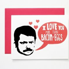 Ron Swanson Parks and Rec Valentine's Day Card on the redditgifts Marketplace