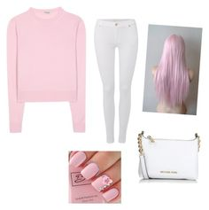 """""""Pink+white"""" by kikiflawless ❤ liked on Polyvore featuring beauty, Miu Miu, 7 For All Mankind and Michael Kors"""