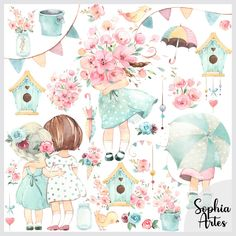 Kit Digital, Aqua Rose, Sweet Pic, Party In A Box, Cute Bunny, Colour Images, Print And Cut, Happy Planner, Planner Stickers