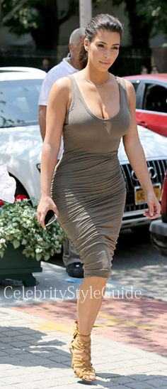 Seen on Celebrity Style Guide: Kim Kardashian wearing the James Perse Skinny Ruched Tank Dress gets in some girl time with her sisters Kourtney and Khloe along with their mom, Kris Jenner. The ladies stepped out in the Hamptons to do what they do best: Shop! July 2,   Get Kim Karadashian's Dress Here: http://rstyle.me/~2cKp2