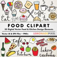 Food Clip Art - Hand drawn clip art, food collage sheet, desserts clipart, breakfast clipart, cafe art, typography clipart, doodle clipart