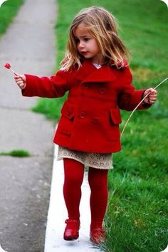 red pea coat, red tights, red shoes, red hat photo - Valentine's Day