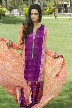 Show details for Orchid Purple and Orange Lawn Kameez with Trousers