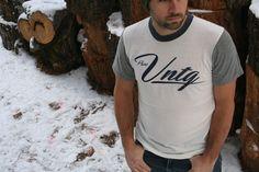 White unisex T, with eco-grey sleeves, navy neck band